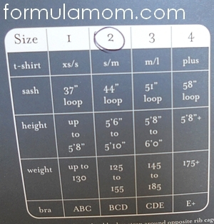 Baby bond sizing chart
