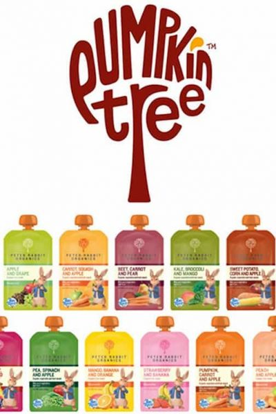 Peter Rabbits Organics baby food pouches by Pumpkin Tree - photo of all the flavor varieties