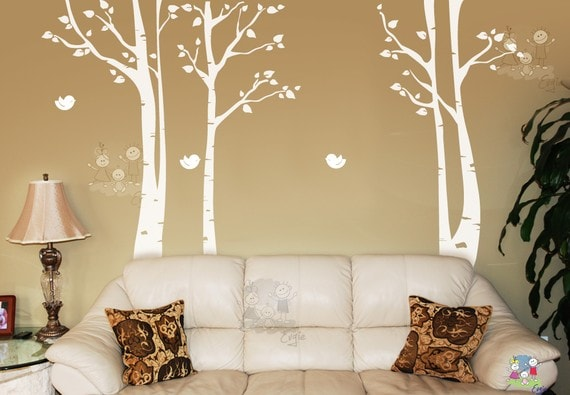 birch tree decal etsy