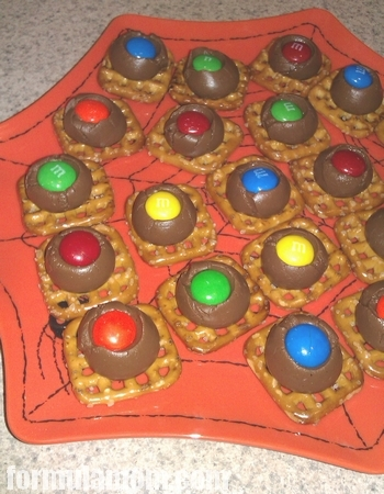 Pretzels Kissed with Chocolate M&M's