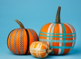 plaid pumpkins using colored craft tape