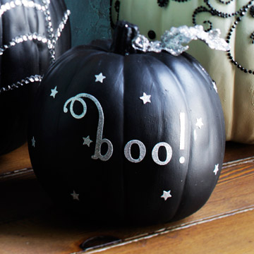 scrapbook your pumpkin using stickers