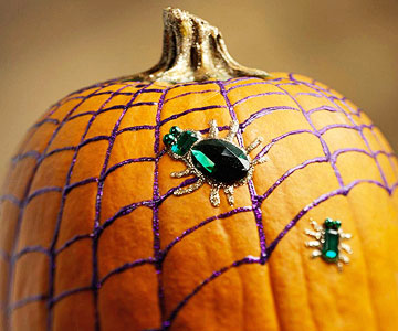 webbed pumpkin decorative pumpkin with metallic paint