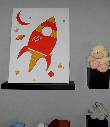 My Wonderful Walls Rocket Ship Canvas Wall Art