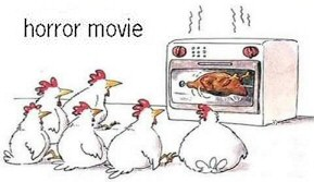 Funny Turkey Cartoon - Thanksgiving Horror Movie