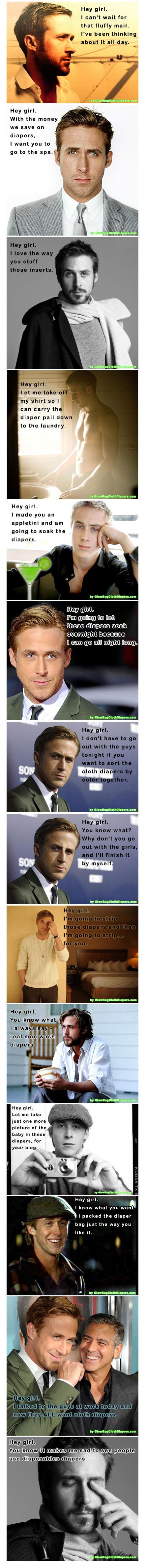 Ryan Gosling & Cloth Diapers