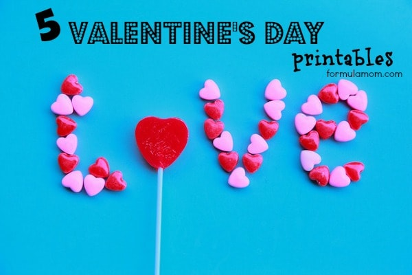 5 Free Valentine's Day Printables  #valentinesday
