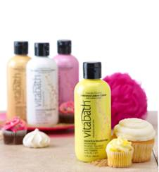 Vitabath's Cupcake Couture body washes are available in four sweet fragrances: Dreamy Pink Frosting, Luscious Lemon Crème, Heavenly Coconut Crème and Scrumptious Vanilla Sugar!