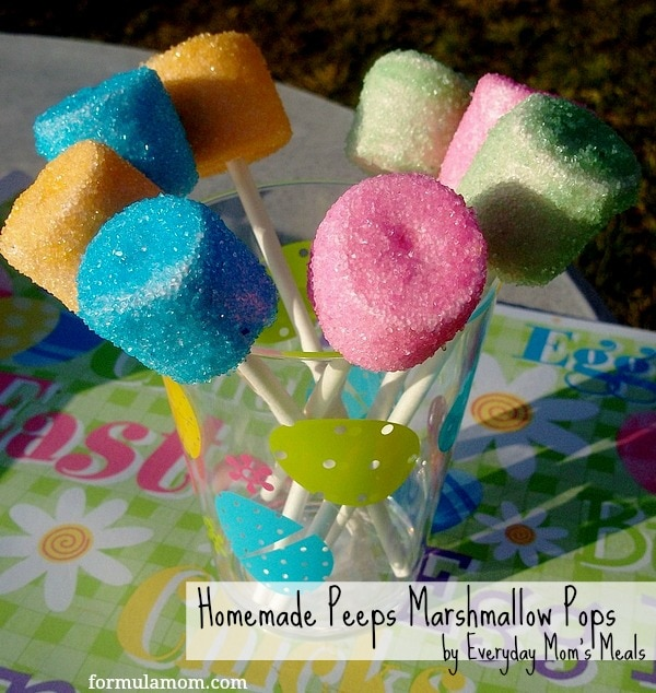 Homemade Peeps Marshmallow Pops #peeps #easter