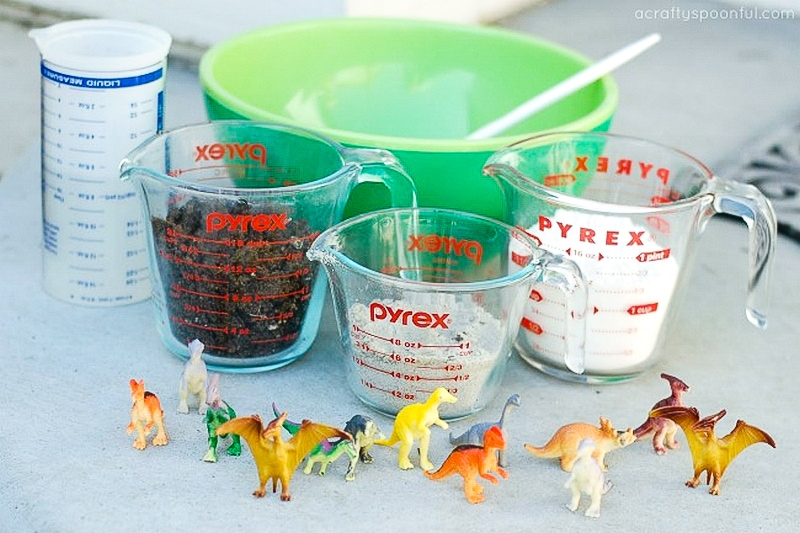 Materials to make homemade dinosaur fossils