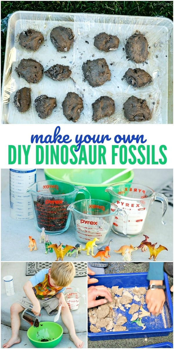 How to make dinosaur fossils for kids - this DIY activity for kids is great for all ages, especially preschool. You can create a homemade dinosaur dig and explore together!