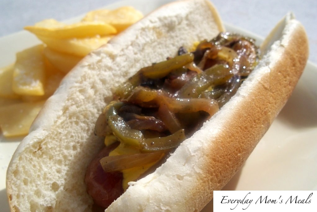 Grilled Bratwursts with Onions & Peppers