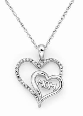 Halezberg Diamonds MOM Heart Pendant for Mother's Day