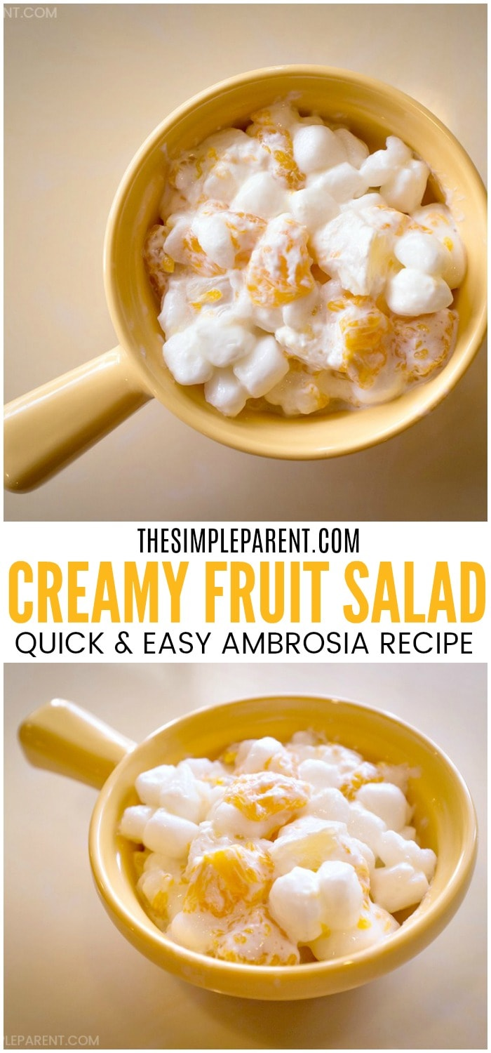 Easy Fruit Salad with Cool Whip - Make a batch of this simple ambrosia recipe with canned fruit, marshmallows, vanilla pudding, pineapple, and Cool Whip whipped cream. It's perfect for family dessert or for a party! See how quick and easy it is to make! A few simple steps!