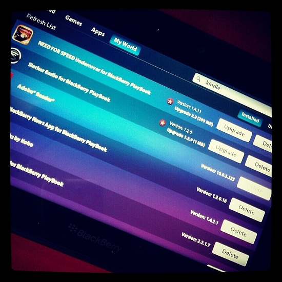 BlackBerry Playbook downloadable apps