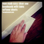 Clean Baseboards with Dryer Sheets