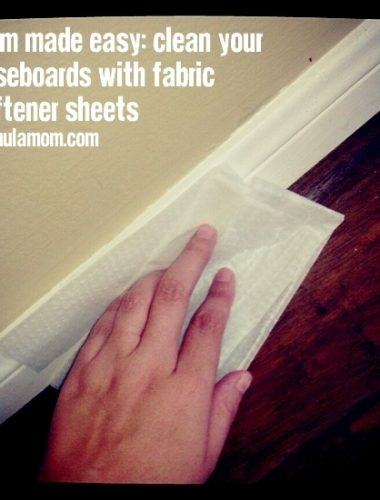Mom Made Easy: Clean Baseboards with Fabric Softener Sheets