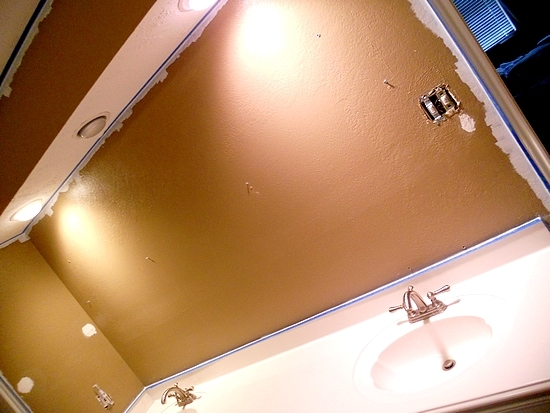 Prepping the bathroom for Glidden Paint