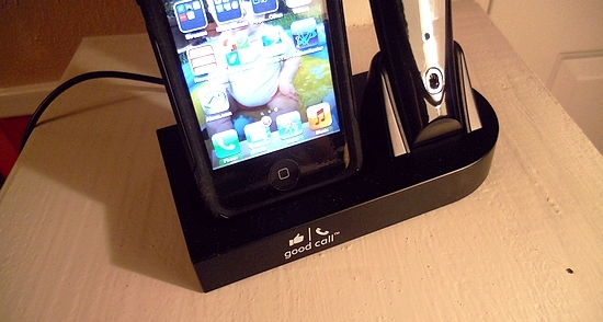 iPhone can charge in the Good Call dock without taking off the cover!