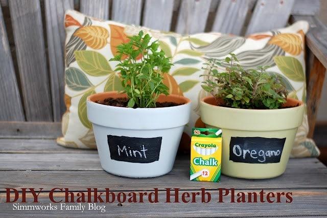 DIY Chalkboard Herb Planters