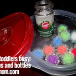 Keeping Toddlers Busy: Pom Poms & Bottles (Mom Made Easy)