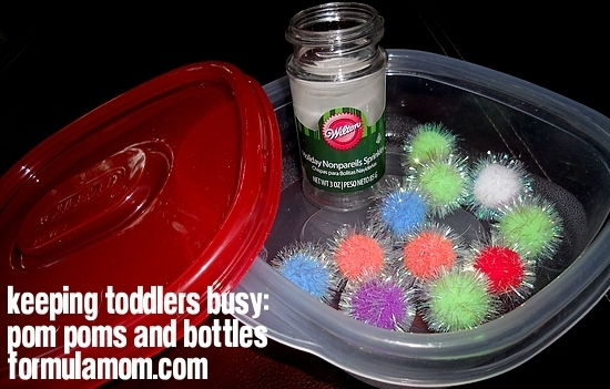 Keeping Toddlers Busy: Pom Poms & Bottles