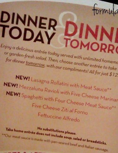 Olive Garden Dinner Today & Dinner Tomorrow