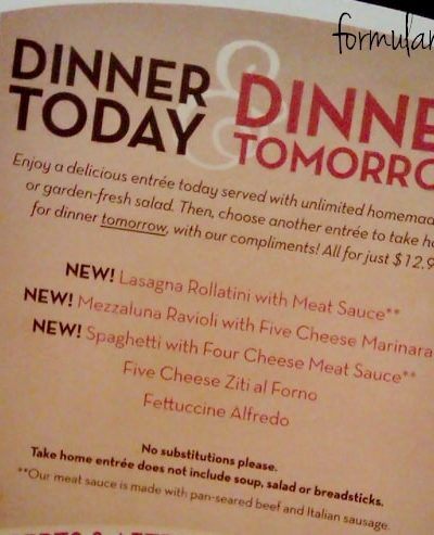 Olive Garden Dinner Today & Dinner Tomorrow