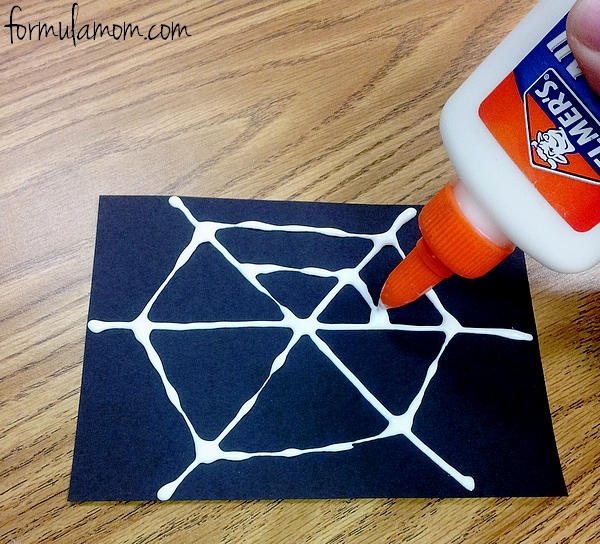 Squeeze glue in a large hexagon circle shape near the edges of the