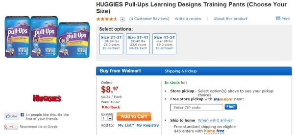 Buying Huggies Pull-Ups at Walmart.com #HuggiesWalmart