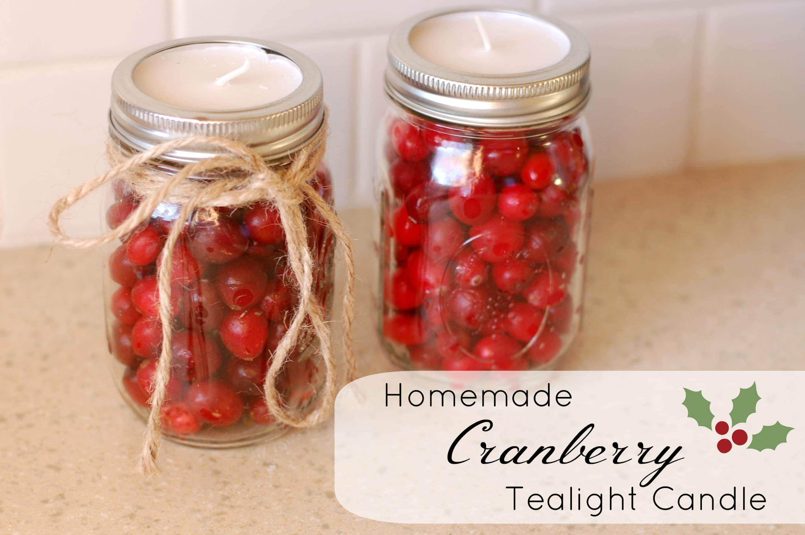 Homemade cranberry candles for Christmas candle gift ideas