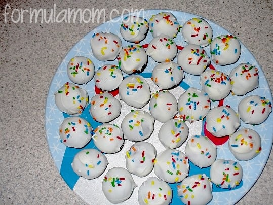 Making New Years Eve Cake Balls