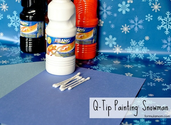 Easy Q-tip Painting Snowman #craft