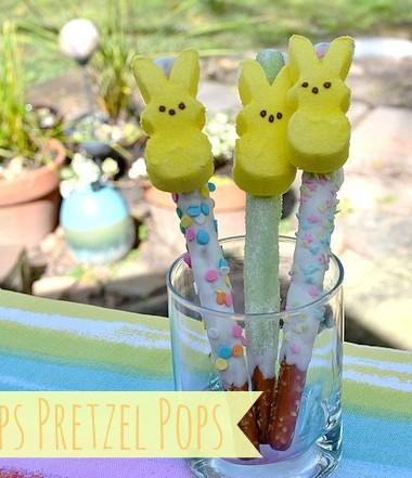 Easter Treats: Peeps Pretzel Pops #easter