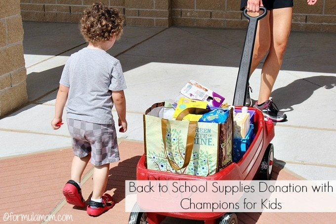 Back to School Supplies Donation with Champions for Kids #BagItForward
