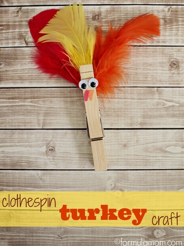 Easy Clothespin Turkey Craft #Thanksgiving