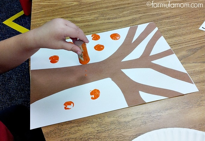 Fall Tree Cork Painting Craft with Kids