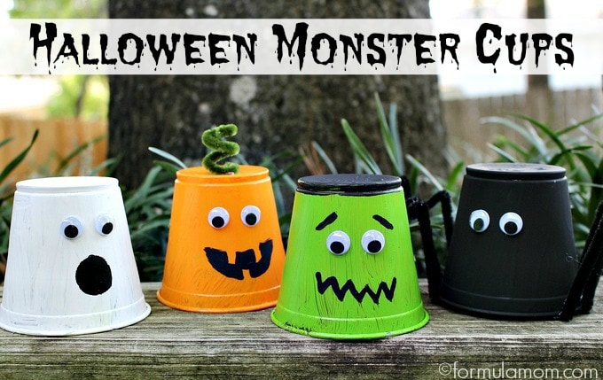 Halloween Crafts for Kids: Monster Cups #halloween