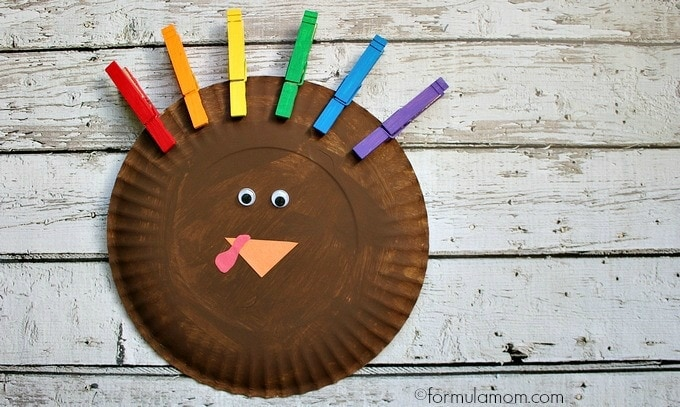 Rainbow Paper Plate Turkey Craft