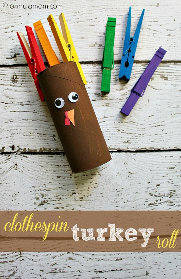 Thanksgiving Turkey Craft: Clothespin Turkey Roll #thanksgiving