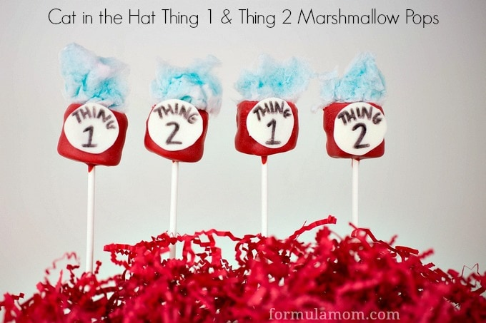Cat in the Hat Marshmallow Pops #drseuss