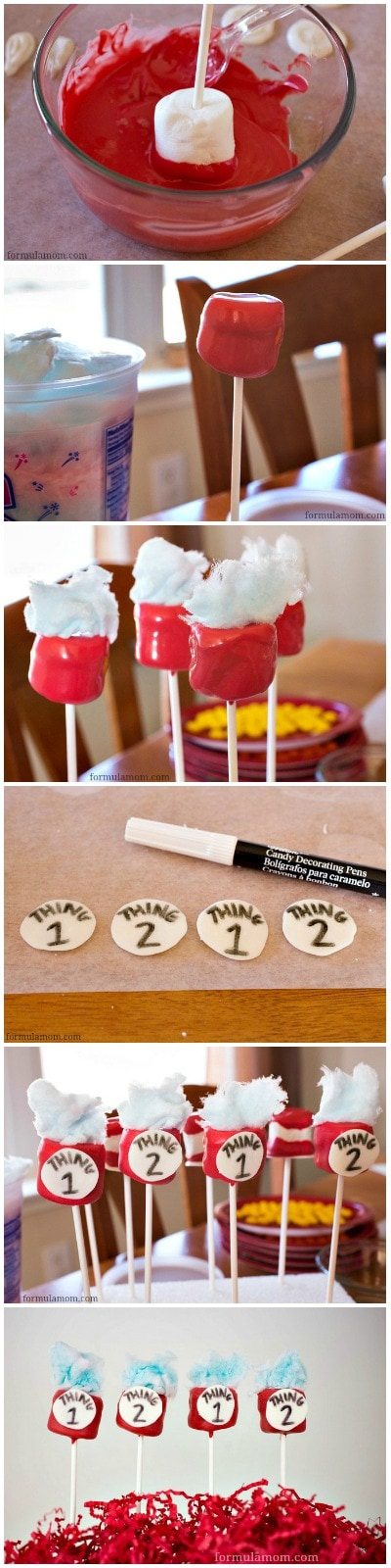 Making Cat in the Hat Thing 1 & Thing 2 Marshmallow Pops #drseuss
