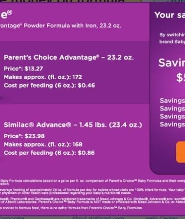 Saving Money with Parent's Choice™ Infant Formula