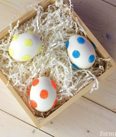 The Secret to Easy Glitter Polka Dot Easter Eggs!