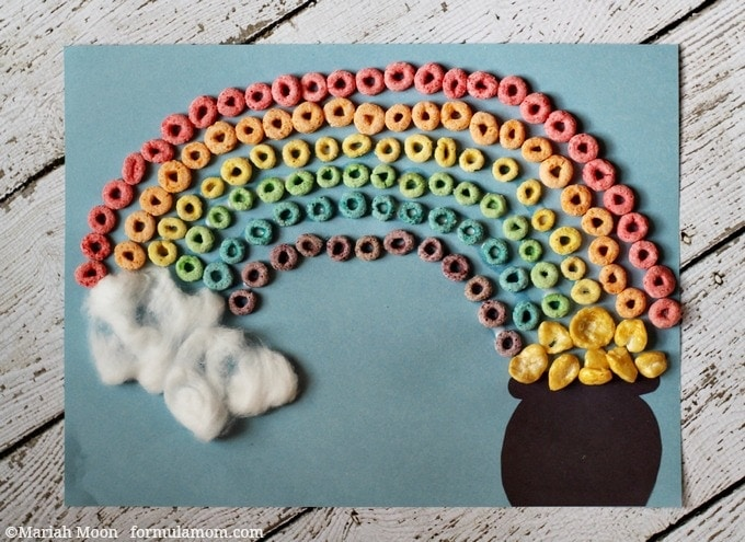 St. Patrick's Day Rainbow Craft with Cereal #stpatricksday