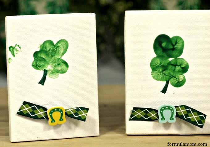 St. Patrick's Day Shamrock Thumbprint Craft #stpatricksday