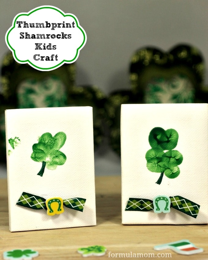 Thumbprint Shamrocks Craft for St. Patrick's Day #stpatricksday
