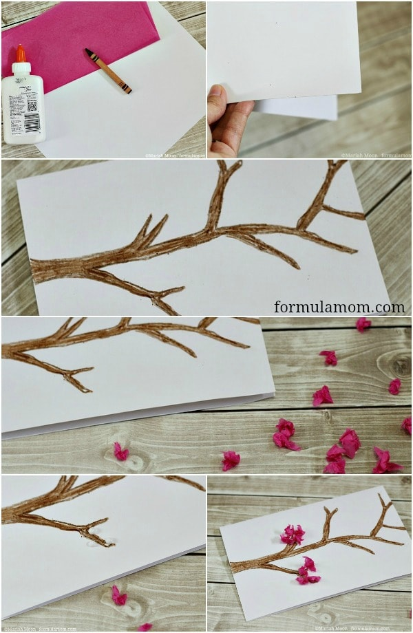 Making Tissue Paper Cherry Blossom Card Craft #mothersday