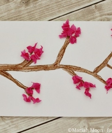 Tissue Paper Cherry Blossom Card Craft #mothersday