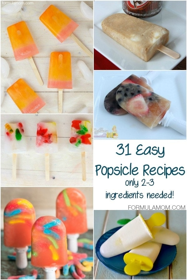 31 Easy Popsicle Recipes (only 2-3 ingredients needed!) #summer